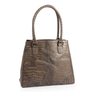 Taupe Croco Embossed 100% Genuine Leather RFID Shoulder Bag (12.75x5x11.25 in)