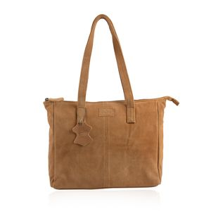Brown Genuine Leather Tote Bag (12.75x4x11.25 in) with Detachable RFID Wrislet Clutch (7.5x4.5 in)