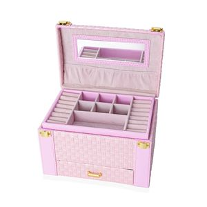Pink 3-Tier Faux Leather Braided Woven Jewelry Box with Mirror and Handle (9x6x6.25 in)