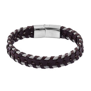 Brown Leather, Stainless Steel Men's Woven Bracelet (8.00 In)