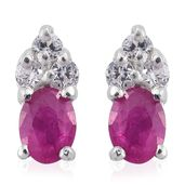 Burmese Ruby, Cambodian Zircon Platinum Over Sterling Silver Earrings TGW 0.65 cts.