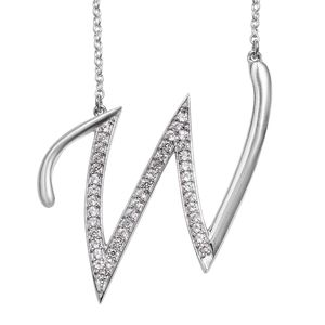 Initial W Necklace Featuring Cambodian White Zircon in Platinum Over Sterling Silver (20 in) TGW 0.85 cts.
