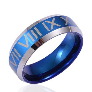 ION Plated Blue and Tungsten Carbide Men's Ring (Size 9.5)