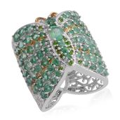 Kagem Zambian Emerald, Russian Diopside 14K YG and Platinum Over Sterling Silver Ring (Size 7.5) TGW 4.60 cts.