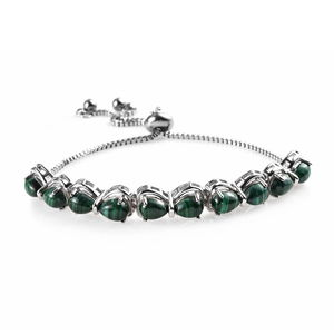 KARIS Collection - African Malachite Platinum Bond Brass Bolo Bracelet (Adjustable) (9.50 In) TGW 13.00 cts.