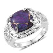 KARIS Collection - Mojave Purple Turquoise Platinum Bond Brass Ring (Size 5.0) TGW 7.35 cts.