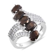 Chocolate Sapphire, Cambodian Zircon Platinum Over Sterling Silver Ring (Size 6.0) TGW 6.44 cts.