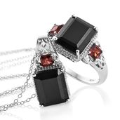 Australian Black Tourmaline, Mozambique Garnet Platinum Over Sterling Silver Ring (Size 7) and Pendant With Chain (20 in) TGW 13.90 cts.
