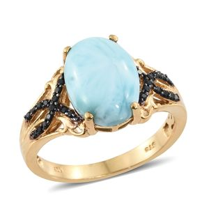 Larimar, Thai Black Spinel Vermeil YG Over Sterling Silver Ring (Size 8.0) TGW 6.65 cts.
