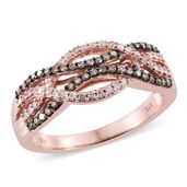 Natural Pink and Champagne Diamond Vermeil RG Over Sterling Silver Ring (Size 8.0) TDiaWt 0.50 cts, TGW 0.50 cts.