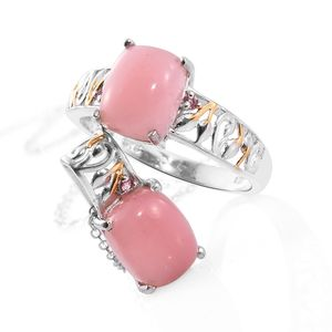 Dan's Jewelry Selections Peruvian Pink Opal, Morro Redondo Pink Tourmaline 14K YG and Platinum Over Sterling Silver Ring (Size 7) and Pendant With Chain (20 in) TGW 4.88 cts.
