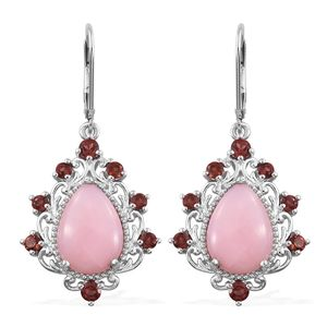 Peruvian Pink Opal, Mozambique Garnet Platinum Over Sterling Silver Lever Back Earrings TGW 9.48 cts.