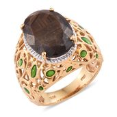 Chocolate Sapphire Vermeil YG Over Sterling Silver Openwork Ring (Size 8.0) TGW 15.50 cts.