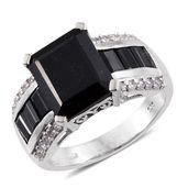 Australian Black Tourmaline, Thai Black Spinel, Cambodian Zircon Platinum Over Sterling Silver Ring (Size 8.0) TGW 8.80 cts.