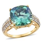 Peacock Quartz, Cambodian Zircon Vermeil YG Over Sterling Silver Ring (Size 9.0) TGW 11.95 cts.