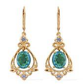 Peacock Quartz, Tanzanite Vermeil YG Over Sterling Silver Earrings TGW 6.54 cts.
