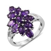 Lusaka Amethyst, Cambodian Zircon Platinum Over Sterling Silver Ring (Size 11.0) TGW 4.58 cts.
