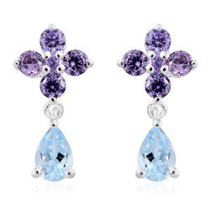 Sky Blue Topaz, Simulated Purple Diamond Sterling Silver Floral Drop Earrings TGW 2.35 cts.