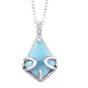 Larimar, Cambodian Zircon Platinum Over Sterling Silver Pendant With Chain (20 in) TGW 6.04 cts.