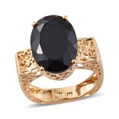 Dan's Collector Deal Australian Black Tourmaline Vermeil YG Over Sterling Silver Euro Style Ring (Size 11.0) TGW 12.80 cts.