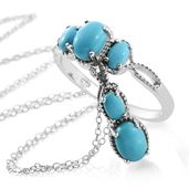 Dan's Jewelry Selections Arizona Sleeping Beauty Turquoise Platinum Over Sterling Silver Ring (Size 10) and Pendant With Chain (20 in) TGW 2.25 cts.