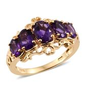 Lusaka Amethyst Vermeil YG Over Sterling Silver 5 Stone Ring (Size 6.0) TGW 3.37 cts.
