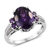 Lusaka Amethyst, Cambodian Zircon Platinum Over Sterling Silver Ring (Size 10.0) TGW 6.25 cts.