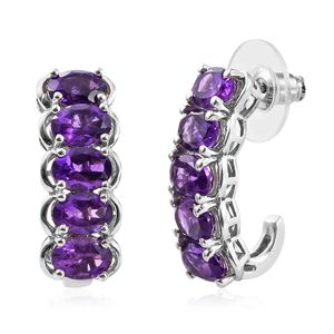 Lusaka Amethyst Platinum Over Sterling Silver 5 Stone J-Hoop Earrings TGW 6.35 cts.