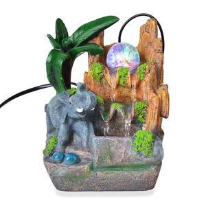 Multi Color Glass LED Light Elephant's Waterfall Fountain (4.5x4x7.5 in)