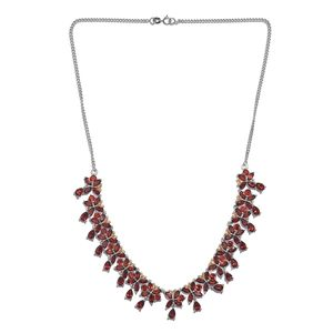 Mozambique Garnet 14K YG and Platinum Over Sterling Silver Butterfly Drop Necklace (18 in) TGW 36.94 cts.