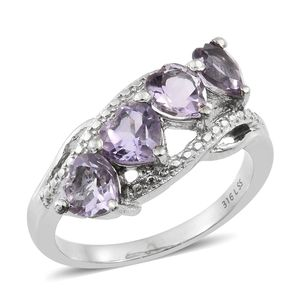 Rose De France Amethyst Stainless Steel 4 Heart Ring (Size 7.0) TGW 2.80 cts.