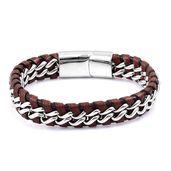 Genuine Leather, Stainless Steel Men's Bracelet (8.00 In)