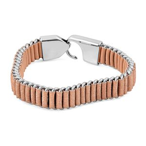 Stainless Steel, Beige Genuine Leather Men's Bracelet (8.50 In)