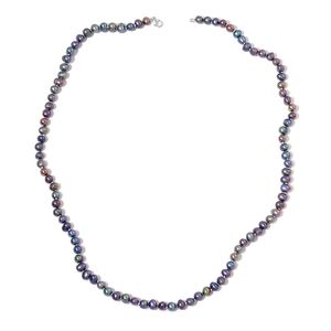 Freshwater Peacock Pearl Beads Sterling Silver Necklace (23 in)