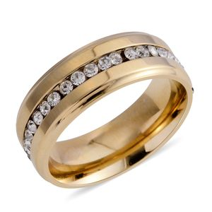 Simulated Diamond 14K YG Over Stainless Steel Band Ring (Size 12.0) TGW 2.16 cts.