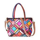 Multi Color Geometric Genuine Leather Tote Bag with Removable Strap (18x5x10.5 in)
