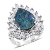Australian Mosaic Opal, White Topaz Platinum Over Sterling Silver Cocktail Ring (Size 9.0) TGW 11.35 cts.