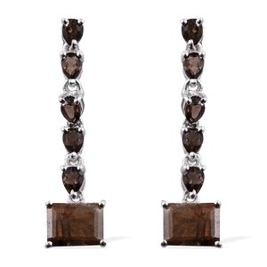 Chocolate Sapphire, Brazilian Smoky Quartz Platinum Over Sterling Silver Dangle Earrings TGW 5.51 cts.