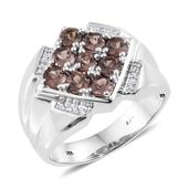 Merelani Color Change Garnet, Cambodian Zircon Platinum Over Sterling Silver Men's Ring (Size 13.0) TGW 2.75 cts.