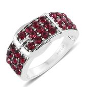 Stainless Steel Buckle Ring (Size 7.0) Made with SWAROVSKI Ruby Crystal TGW 1.60 cts.