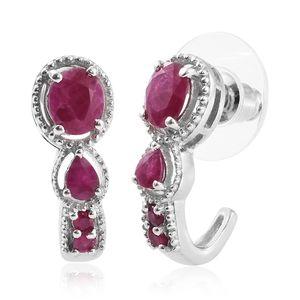 Burmese Ruby Platinum Over Sterling Silver J-Hoop Earrings TGW 1.90 cts.