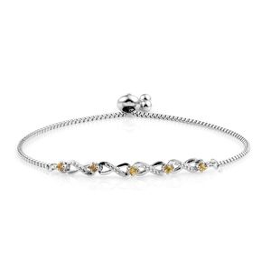 KARIS Collection - Yellow Sapphire Platinum Bond Brass Magic Ball Bracelet (Adjustable) TGW 0.40 cts.