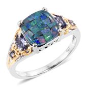 Australian Mosaic Opal, Catalina Iolite 14K YG and Platinum Over Sterling Silver Ring (Size 8.0) TGW 3.64 cts.