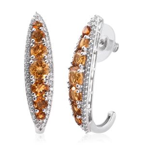 Serra Gaucha Citrine, Santa Ana Madeira Citrine, Cambodian Zircon Platinum Over Sterling Silver Elongated J-Hoop Earrings TGW 6.04 cts.