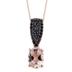 Marropino Morganite, Thai Black Spinel Black Rhodium, 14K RG Over Sterling Silver Pendant With Chain (20 in) TGW 1.26 cts.