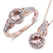 Marropino Morganite, Cambodian Zircon Vermeil RG Over Sterling Silver Ring (Size 8) and Pendant With Chain (20 in) TGW 2.11 cts.