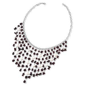 Mozambique Garnet, Freshwater Pearl Silvertone Bib Necklace (18 in) TGW 292.75 cts.