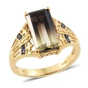Amazon Quartz, Thai Black Spinel Vermeil YG Over Sterling Silver Ring (Size 8.0) TGW 5.79 cts.
