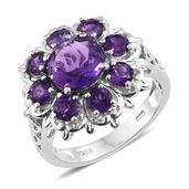Lusaka Amethyst Platinum Over Sterling Silver Flower Ring (Size 5.0) TGW 4.40 cts.