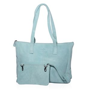 Aquamarine Genuine Leather Shoulder Bag with RFID Clutch (12.75x411.25 in)